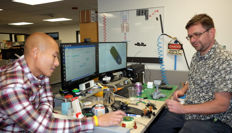 Chief engineering officer Danny Vo, on the left, and Shawn Wilton